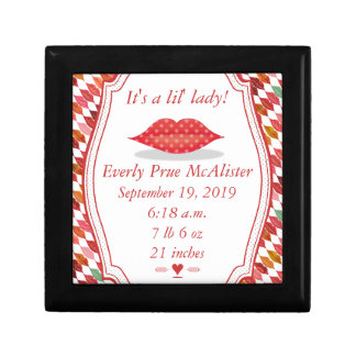 Lips Mrs. Hipster Vintage Retro Bride Small Square Gift Box
