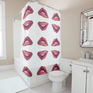 Lips, Pink Lips Shower Curtain
