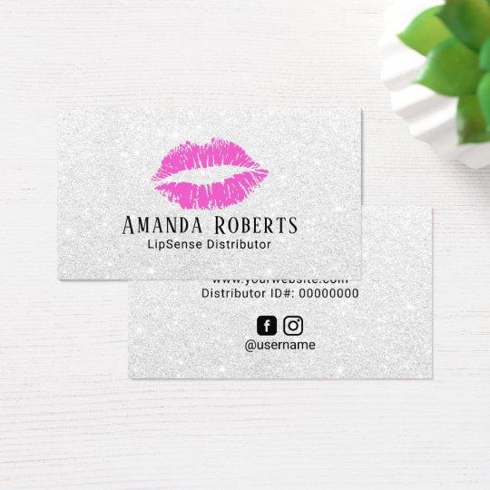 Lipsense Distributor Pink Lips Silver Glitter Business Card