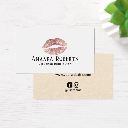 Lipsense Distributor Rose Gold Lips Elegant Business Card