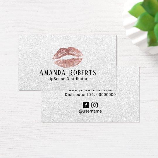 Lipsense Distributor Rose Gold Lips Silver Glitter Business Card