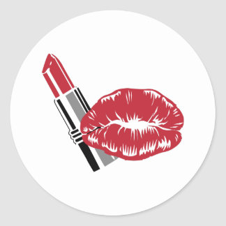 LIPSTICK AND LIPS ROUND STICKERS