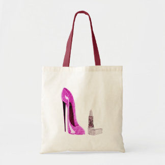 Lipstick and Pink Stiletto Shoe Art Tote Bags