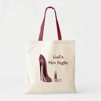 Lipstick and Red Stiletto Shoe Tote Bags