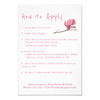 Lipstick distributor application instructions card