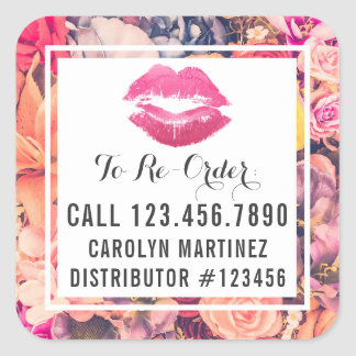 Lipstick Distributor Floral Kiss Re-Order Label