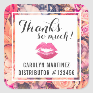 Lipstick Distributor Floral Kiss Thank You Label