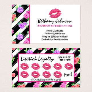 Lipstick Distributor Glam Rose Kiss Loyalty Stamp Business Card