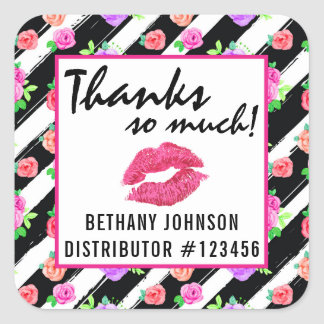 Lipstick Distributor Glam Rose Kiss Thank You Square Sticker