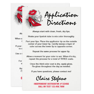 Lipstick Distributor How To Apply / Tips & Tricks Card