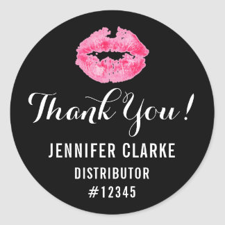 Lipstick Distributor Pink Lips Kiss Thank You Classic Round Sticker
