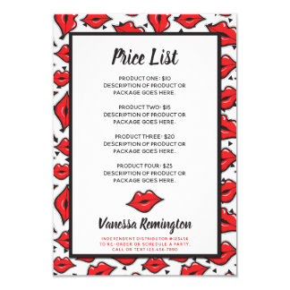 Lipstick Distributor Product Price List Red Kiss Card