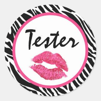 Lipstick Distributor Product Tester Zebra Kiss Classic Round Sticker