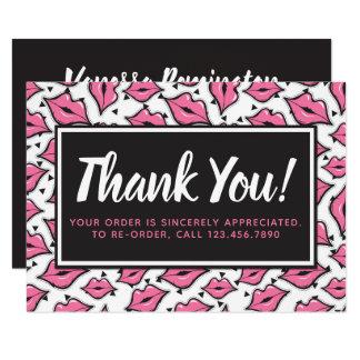 Lipstick Distributor Thank You Pink Lips Kiss Card
