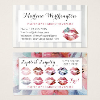 Lipstick Distributor Watercolor Kiss Loyalty Stamp Business Card