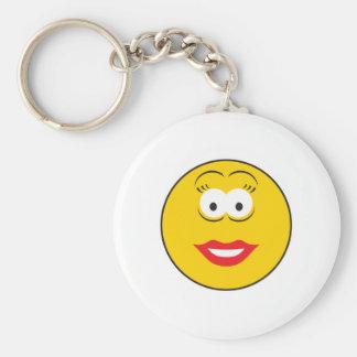 Lipstick Girl Smiley Face Basic Round Button Key Ring