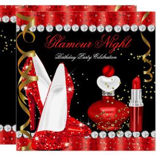 Lipstick Glitter Glamour Night Red Gold Card