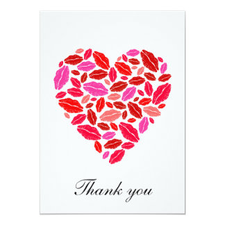 Lipstick heart - thank you note 13 cm x 18 cm invitation card