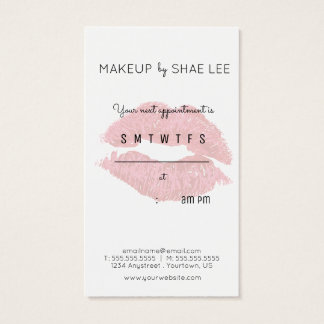 Lipstick Kiss Makeup Artist Appointment Reminder Business Card