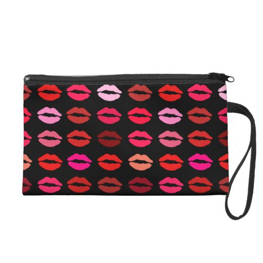 lipstick kisses wristlet clutch