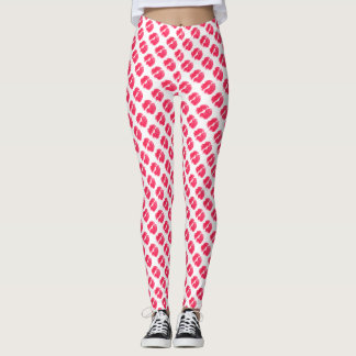 Lipstick Kisses Pattern Hot Pink And White Leggings