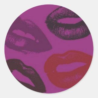 Lipstick Kisses Pattern Stickers Round Sticker