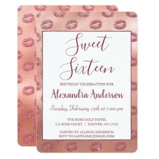 Lipstick Kisses Rose Gold Sweet Sixteen Birthday Card
