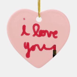 Lipstick Love Ceramic Heart Decoration