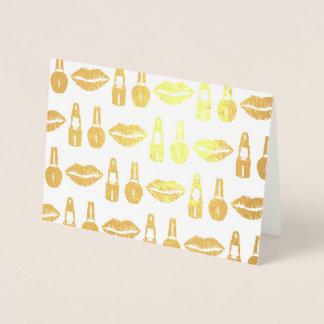 Lipstick Nail Polish Makeup Artist Beauty Fashion Foil Card