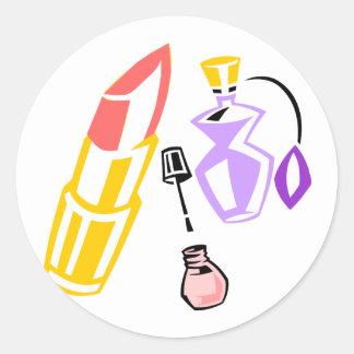 Lipstick Perfume and Nail Polish Round Stickers