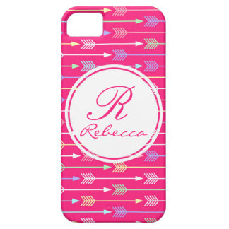 Lipstick Pink and Pastel Arrows Custom Monogram iPhone 5 Case