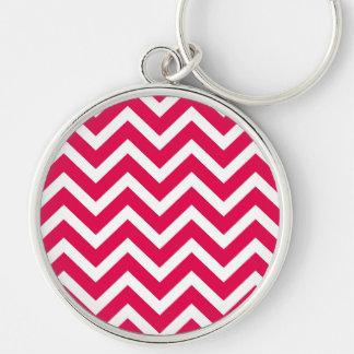 Lipstick Pink and White Chevron Zig Zag Key Chain