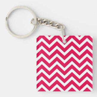 Lipstick Pink and White Chevron Zig Zag Square Acrylic Key Chain