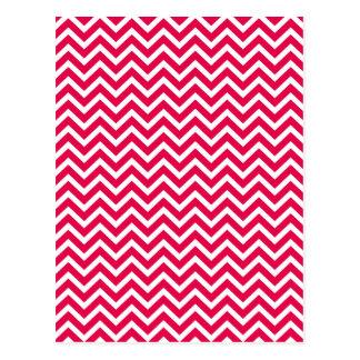 Lipstick Pink and White Chevron Zig Zag Postcard