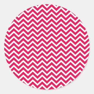 Lipstick Pink and White Chevron Zig Zag Round Sticker