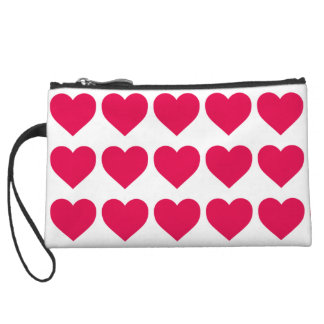 Lipstick Pink Candy Hearts on White Wristlet Clutch
