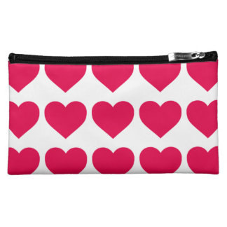 Lipstick Pink Candy Hearts on White Makeup Bag