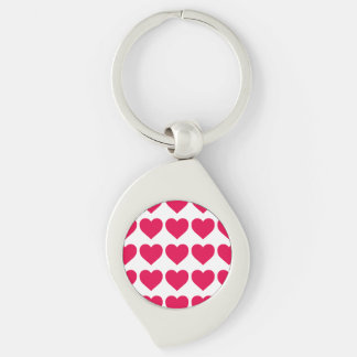 Lipstick Pink Candy Hearts on White Silver-Colored Swirl Key Ring