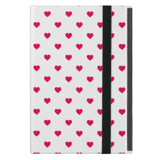 Lipstick Pink Candy Polkadot Hearts on White iPad Mini Cover