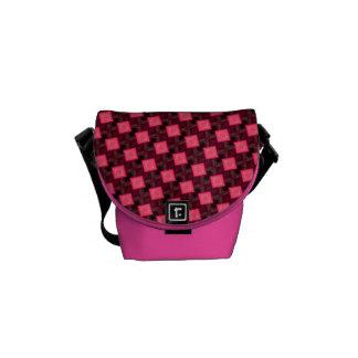 lipstick pink cubes messenger bag