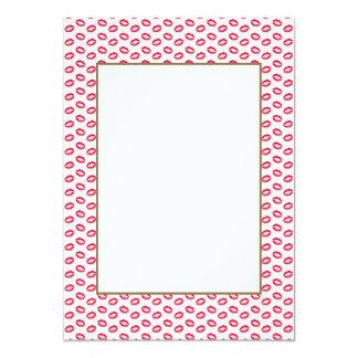 "Lipstick Pink Kisses 5"" X 7"" Invitation Card"