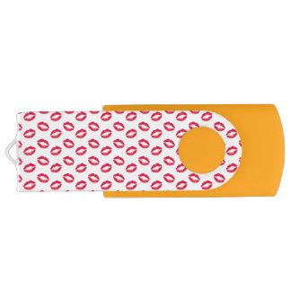 Lipstick Pink Kisses Swivel USB 2.0 Flash Drive