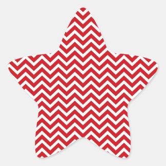 Lipstick Red and White Valentine ZigZag Chevron Star Sticker