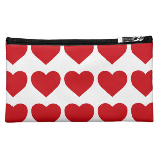 LIpstick Red Candy Hearts On White Cosmetics Bags