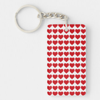 LIpstick Red Candy Hearts On White Acrylic Key Chain