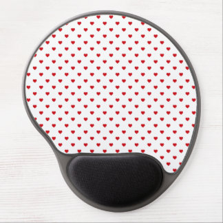 Lipstick Red Candy Polka Dot Hearts On White Gel Mouse Mat