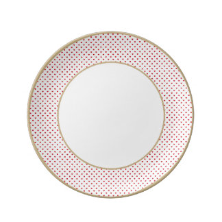Lipstick Red Candy Polka Dot Hearts On White Porcelain Plate