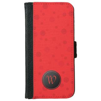 Lipstick Red Polka Dot Monogram iPhone 6 Wallet Case