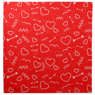 Lipstick Red White Valentines Love Heart and Arrow Napkin