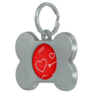 Lipstick Red White Valentines Love Heart and Arrow Pet Tag